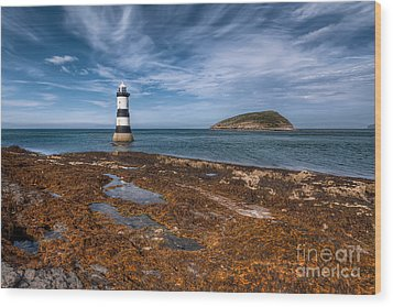 Penmon Lighthouse Wood Print by Adrian Evans