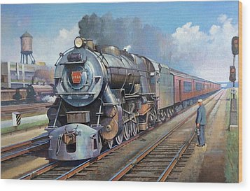 Wood Print featuring the painting Penn Central Pacific. by Mike Jeffries
