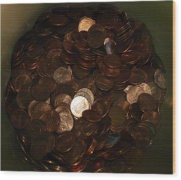 Pennies Wood Print by Rob Hans