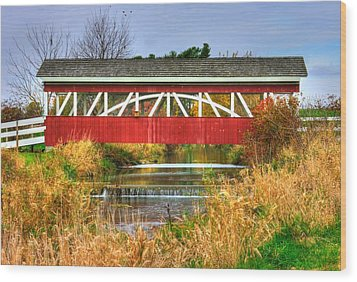 Pennsylvania Country Roads - Oregon Dairy Covered Bridge Over Shirks Run - Lancaster County Wood Print by Michael Mazaika