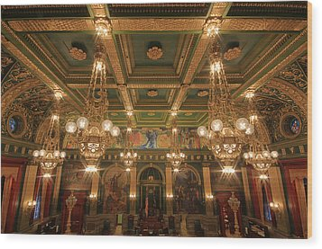 Pennsylvania Senate Chamber Wood Print by Shelley Neff