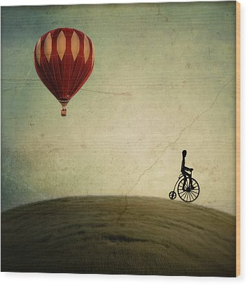Penny Farthing For Your Thoughts Wood Print by Irene Suchocki