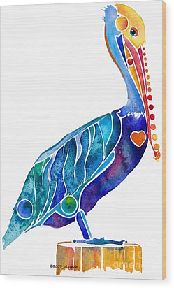 Penny Pelican Wood Print by Jo Lynch
