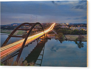 Wood Print featuring the photograph Pennybacker Bridge At Dusk by John Maffei