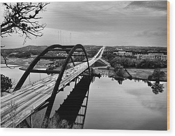 Wood Print featuring the photograph Pennybacker Bridge by John Maffei