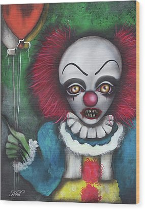 Pennywise Wood Print by Abril Andrade Griffith
