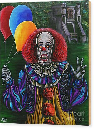 Pennywise It Wood Print by Jose Mendez