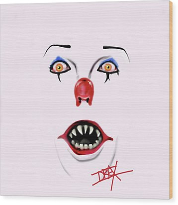 Pennywise The Clown Wood Print by Danielle LegacyArts