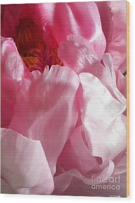 Peonies And Glass Wood Print by Sian Lindemann