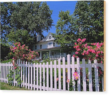 Peonies And Picket Fences Wood Print