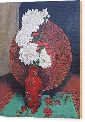 Wood Print featuring the painting Peonies For Nana by Tom Roderick