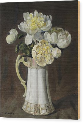 Peonies In Fluted Japanese Coffeepot Wood Print