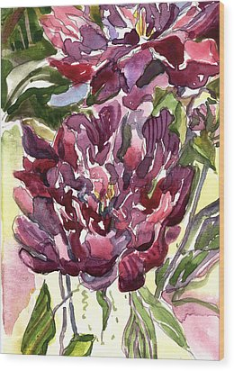 Peonies Wood Print by Mindy Newman