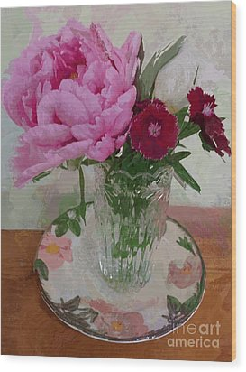 Wood Print featuring the digital art Peonies With Sweet Williams by Alexis Rotella