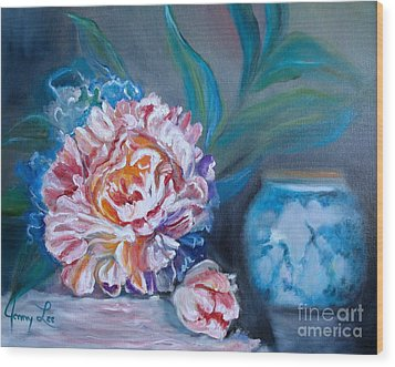 Wood Print featuring the painting Peony And Chinese Vase by Jenny Lee