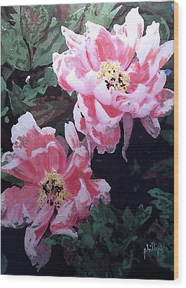 Wood Print featuring the painting Peony Blooms by Jim Phillips