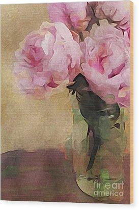 Wood Print featuring the digital art Peony Bouquet by Alexis Rotella