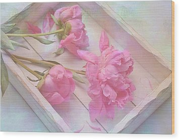 Peonies In White Box Wood Print by Diane Alexander