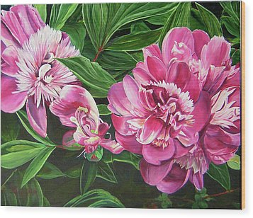 Wood Print featuring the painting Peony Trilogy by Lee Nixon