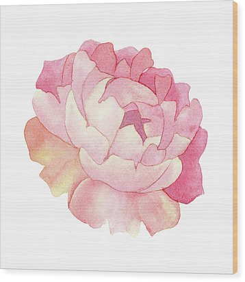 Peony Watercolor  Wood Print by Taylan Apukovska