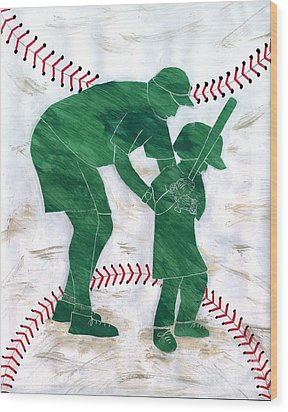 People At Work - The Little League Coach Wood Print by Lori Kingston