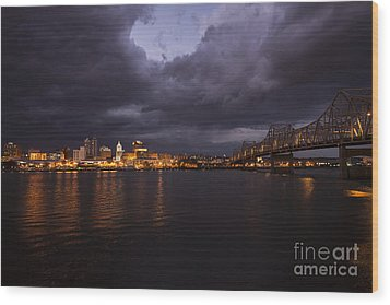 Peoria Stormy Cityscape Wood Print