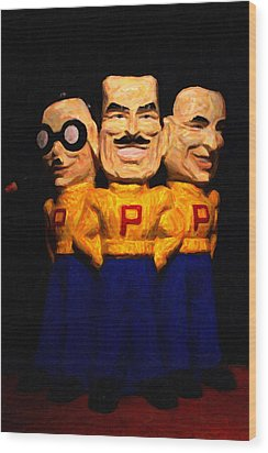 Pep Boys - Manny Moe Jack - Painterly - 7d17428 Wood Print by Wingsdomain Art and Photography