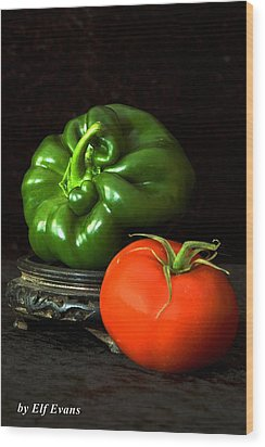 Pepper And Tomato Wood Print