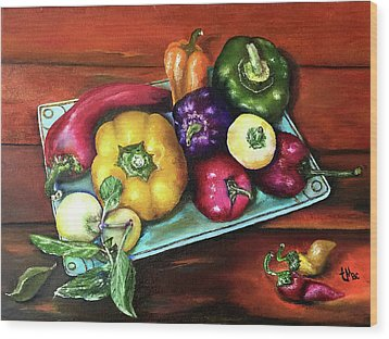 Peppers And A Turquoise Tray Wood Print