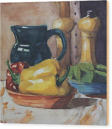 Peppers And Jug Wood Print