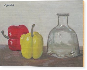Peppers And Tequila Bottle Wood Print