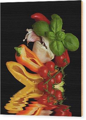 Wood Print featuring the photograph Peppers Basil Tomatoes Garlic by David French