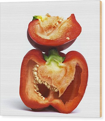 Peppers Wood Print by Bernard Jaubert