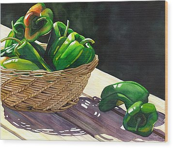 Peppers Wood Print by Catherine G McElroy