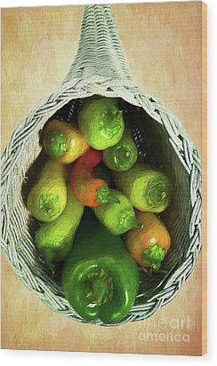 Wood Print featuring the painting Peppers In A Horn Of Plenty Basket Ap by Dan Carmichael