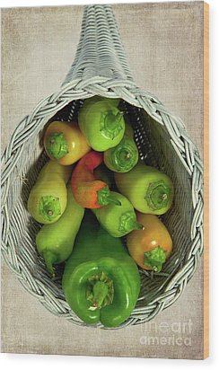 Wood Print featuring the photograph Peppers In A Horn Of Plenty Basket by Dan Carmichael