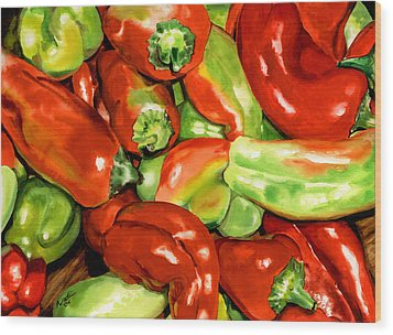 Peppers Wood Print by Nadi Spencer