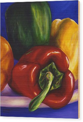 Peppers On Peppers Wood Print
