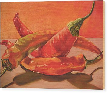 Peppers Playing Twister Wood Print