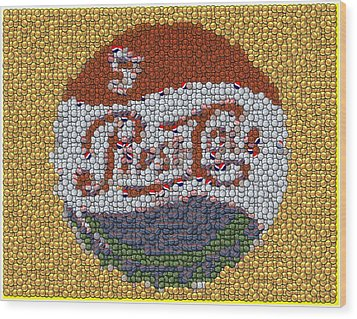 Pepsi Bottle Cap Mosaic Wood Print by Paul Van Scott