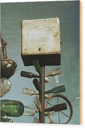 Pepsi Bottle Tree - Route 66 Wood Print by Glenn McCarthy Art and Photography