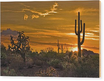 Peralta Arizona Sunset Wood Print