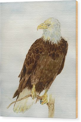 Wood Print featuring the painting Perched Eagle by Andrew Gillette