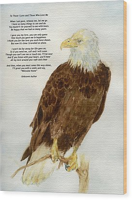 Wood Print featuring the painting Perched Eagle- With Verse by Andrew Gillette