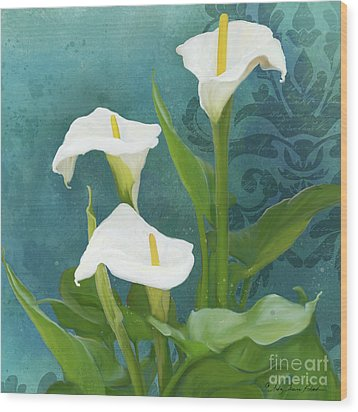 Wood Print featuring the painting Perfection - Calla Lily Trio by Audrey Jeanne Roberts