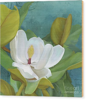 Wood Print featuring the painting Perfection - Magnolia Blossom Floral by Audrey Jeanne Roberts