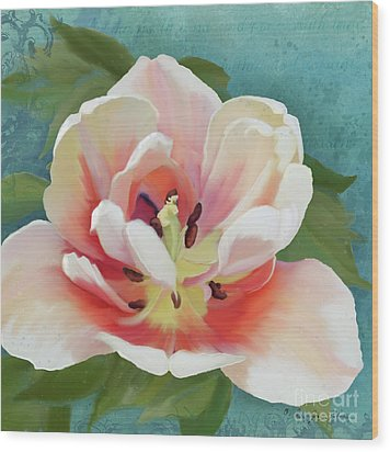 Wood Print featuring the painting Perfection - Single Tulip Blossom by Audrey Jeanne Roberts