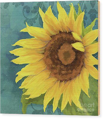 Wood Print featuring the painting Perfection - Russian Mammoth Sunflower by Audrey Jeanne Roberts