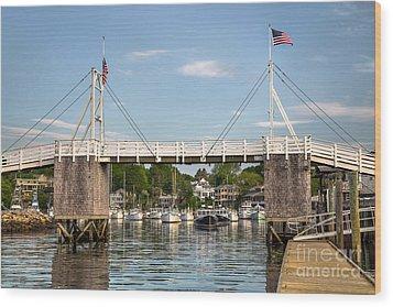 Perkins Cove Bridge Wood Print