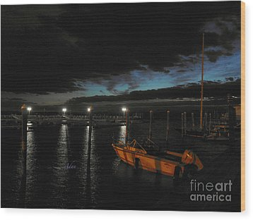 Perkins Pier Sunset Wood Print